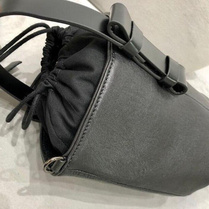 Black Leather Bucket Bag Top View