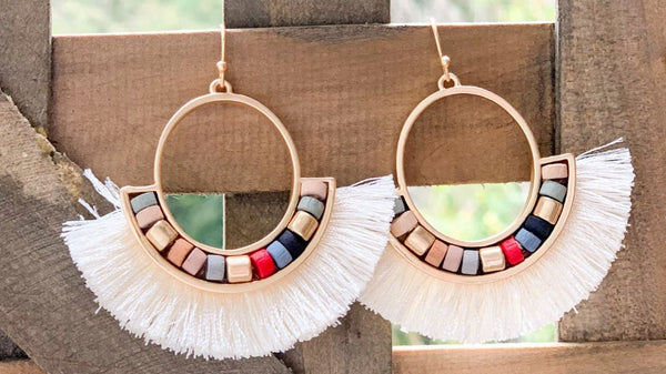 Ivory Boho Beaded Earrings