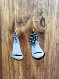 Feather Earrings in Black and White