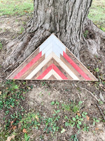 Triangular Red - Mountain Wood Wall Art 24 x 12