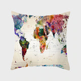 World Map Splash Throw Pillow Cover