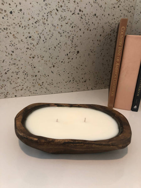 20 oz Hand Carved Wooden Candle