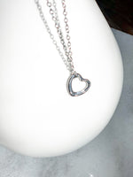 Hammered Silver Heart Necklace - FREE SHIPPING AT CHECKOUT