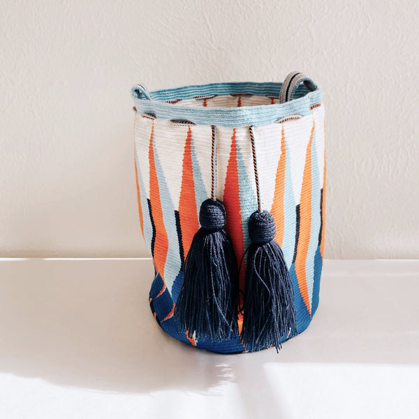 Hand-Woven Bucket Bag, Navy/Orange