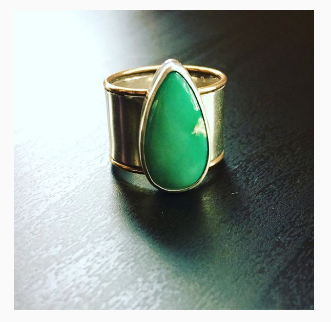 Arrows Wide Band Turquoise Ring