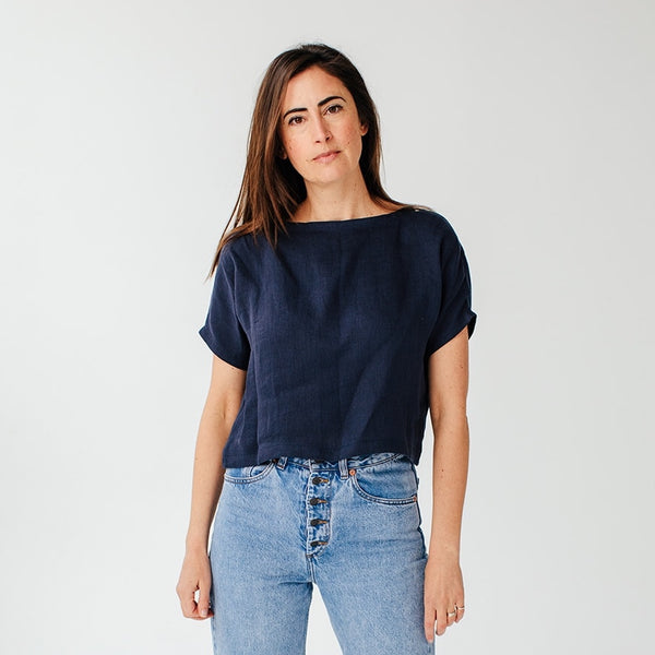 Linen Swing Top, Navy