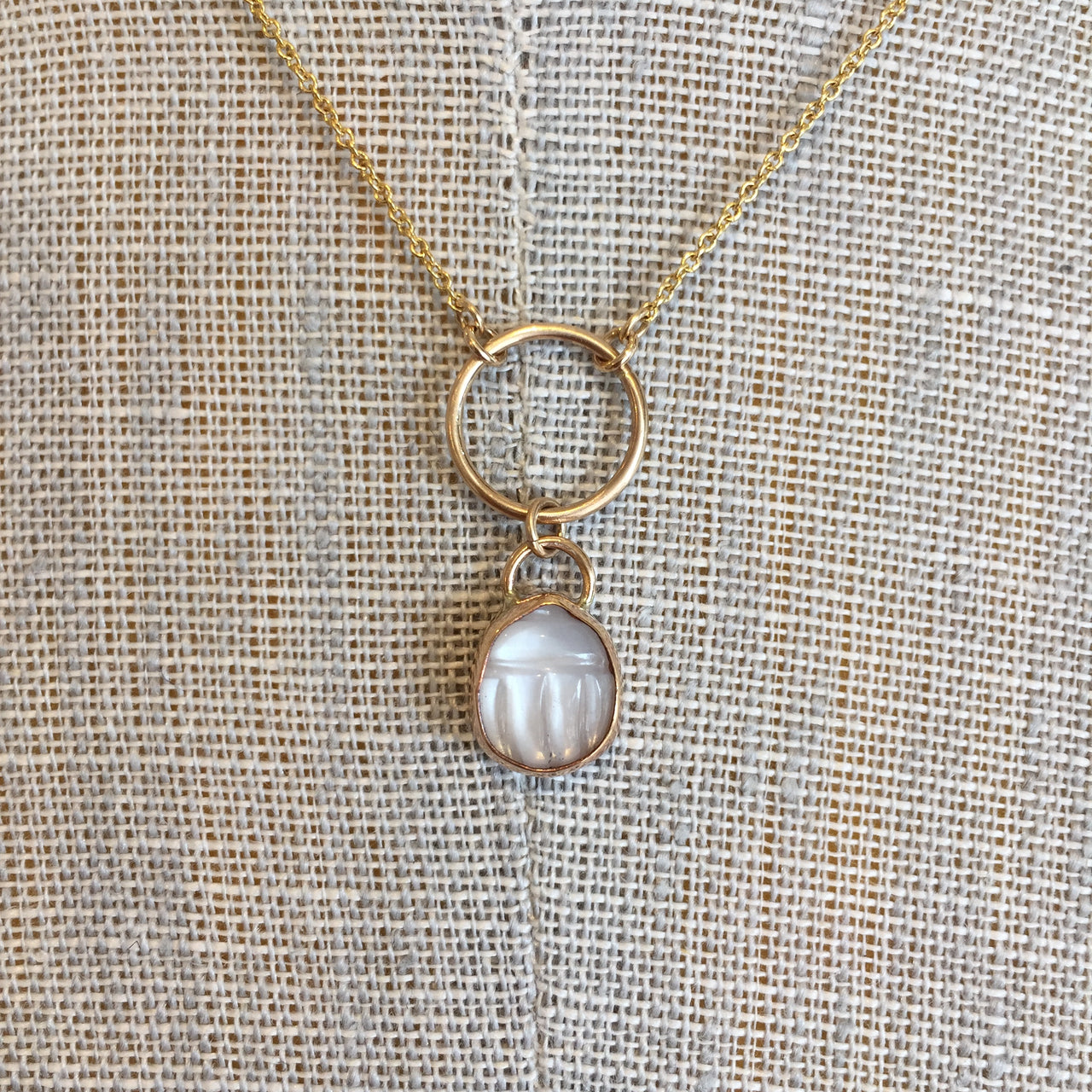 Beetle Moonstone Necklace, Gold