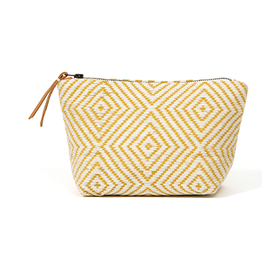 Christina Cosmetic Pouch, Yellow/Cream