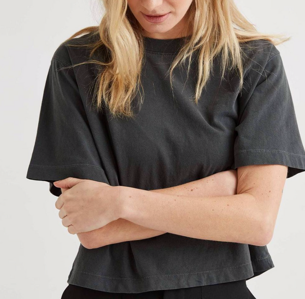 Relaxed Cropped Tee, Stretch Limo