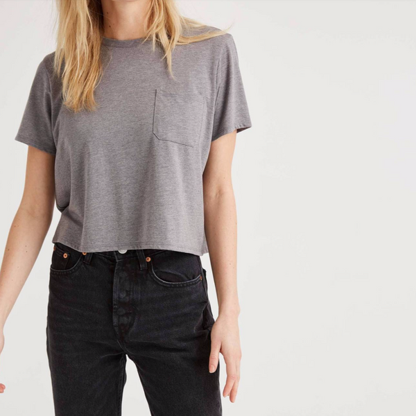 Boxy Crop Pocket Tee, Heather Gray