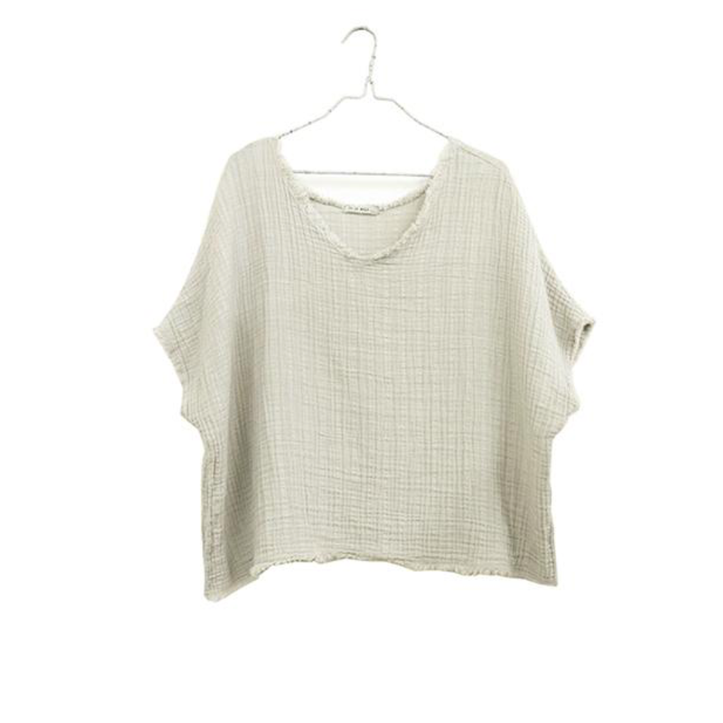 Reversible Gauze Top, Natural