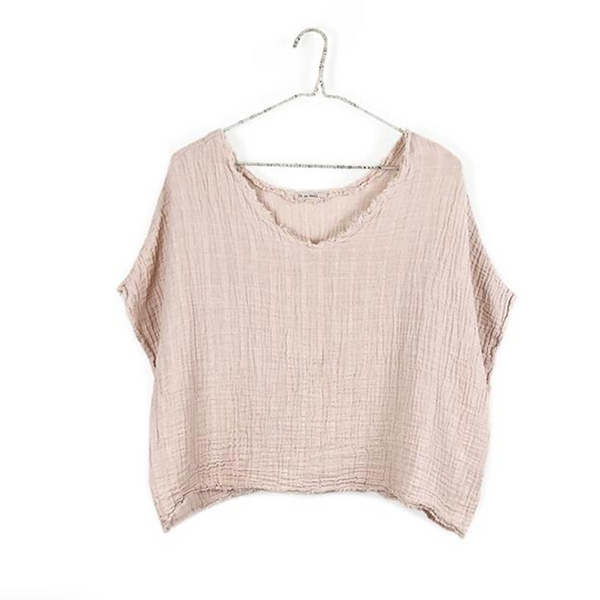 Reversible Gauze Top, Blush