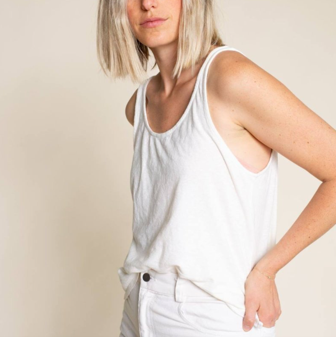 Cropped Hemp Tank, White