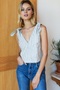 Tie Shoulder Mod Top, Juniper Stripe Linen