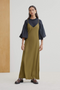 Ada Long Slip Dress, Khaki Olive