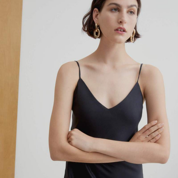 Ada Long Slip Dress, Black