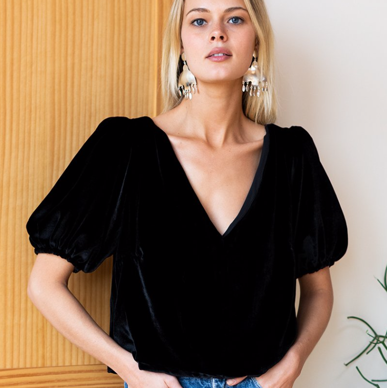 Balloon Mod Top, Black Velvet