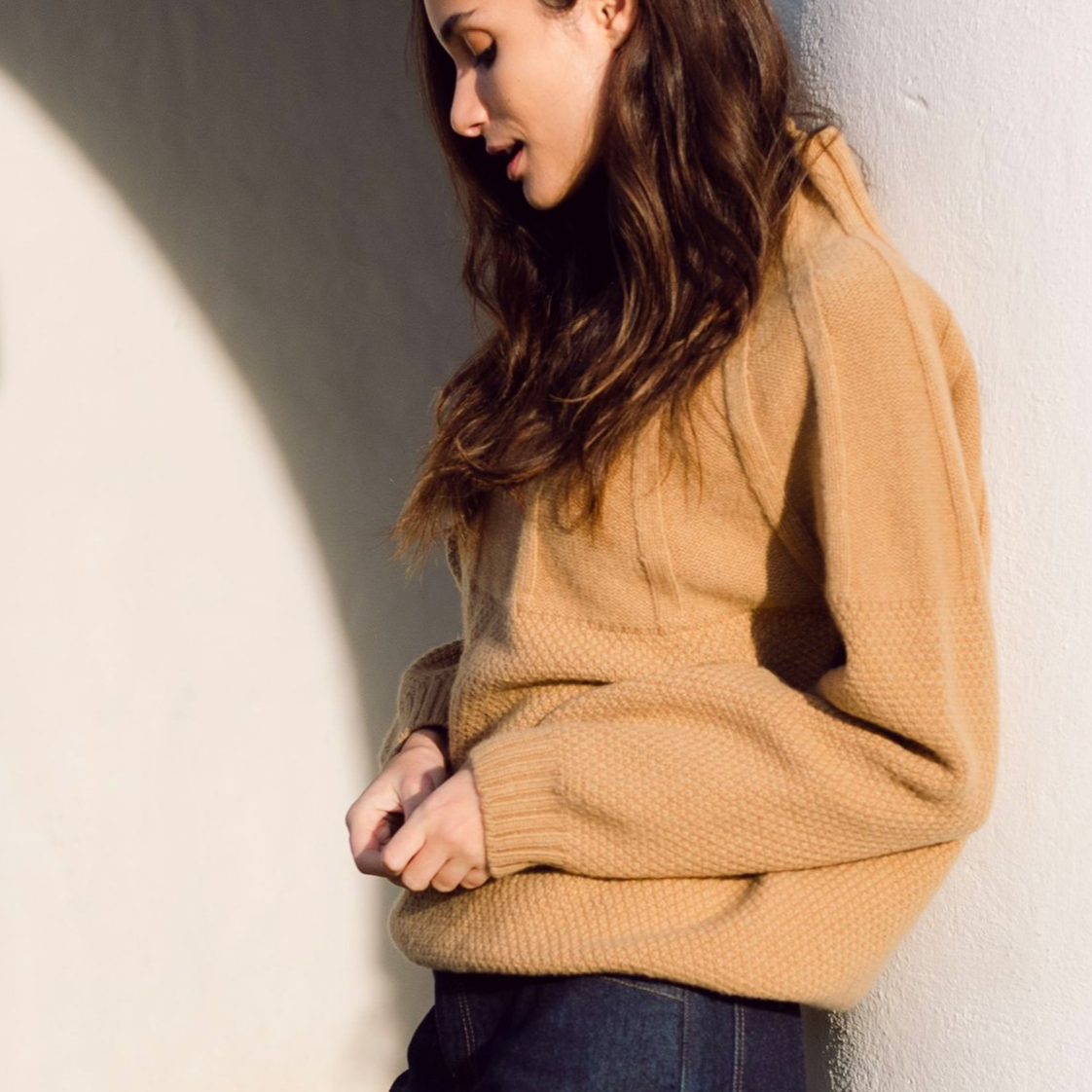 Blanche Lambswool Knit Sweater, Brown Sugar