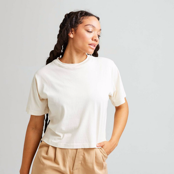 Relaxed Cropped Tee, Bone