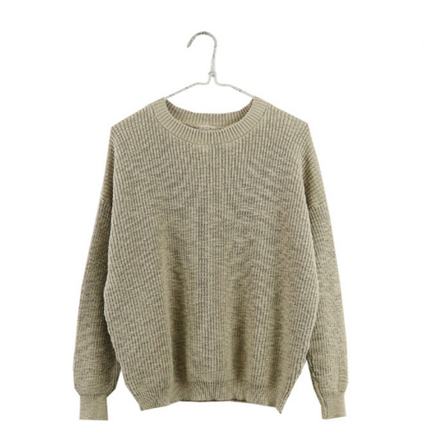 Crewneck Pull-On Sweater, Taupe