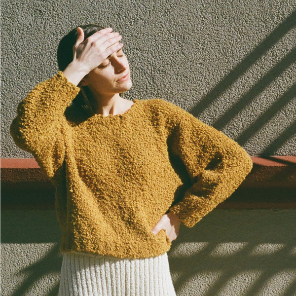 Textured Sweater, Ochre