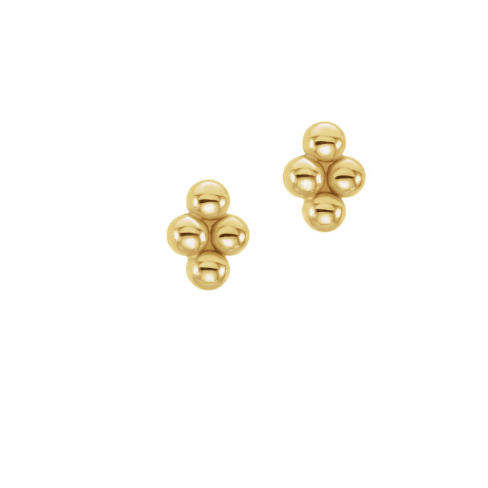 Tiny Ball Studs, Solid Gold