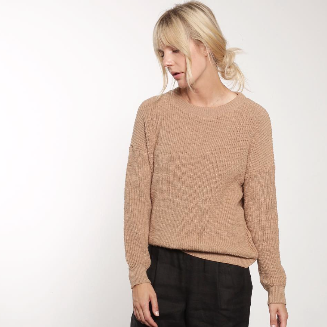Crewneck Pull-On Sweater, Camel