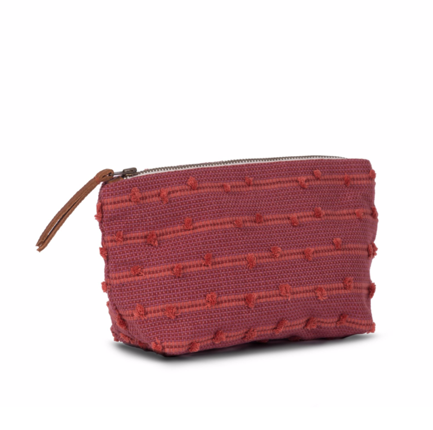 Mini Cristina Cosmetic Pouch, Cochineal Basketweave Tufts