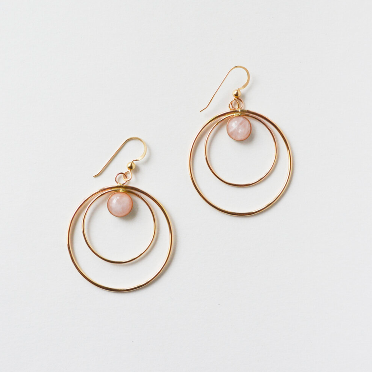 Ripple Rose Quartz Earrings