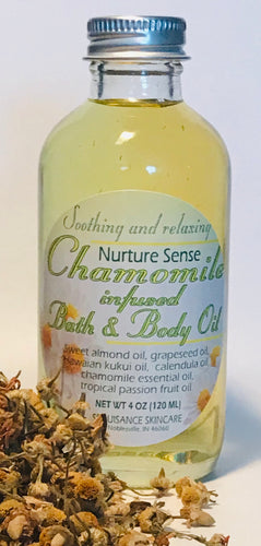 NURTURE SENSE Chamomile Infused Bath and Body Oil.
