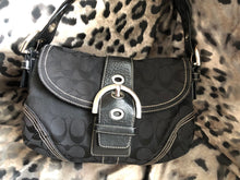 Load image into Gallery viewer, consignment bag - Coach black canvas with black leather