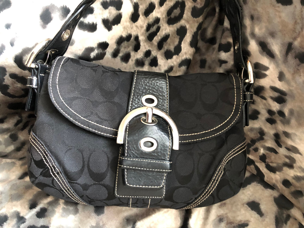 consignment bag - Coach black canvas with black leather