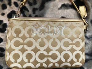 consignment bag - Coach Poppy Goldie collector, larger wristlet