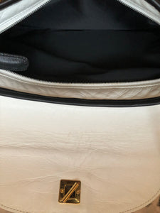 consignment bag - white and black leather