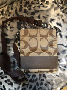 consignment bag - Coach brown canvas crossbody