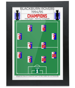Blackburn Rovers 1994-95 Premier League Winning Squad Retro Football Print