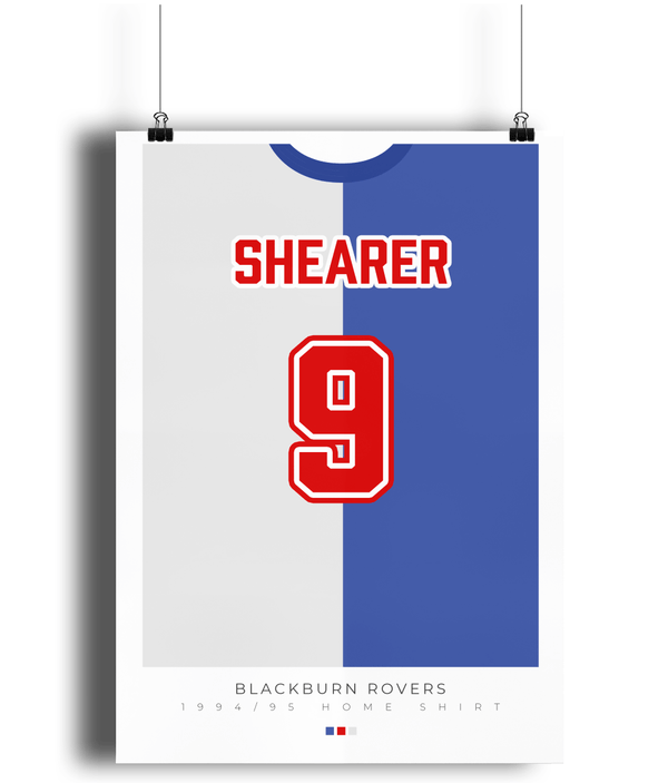 Blackburn Rovers 1994 Home Shearer Shirt Poster