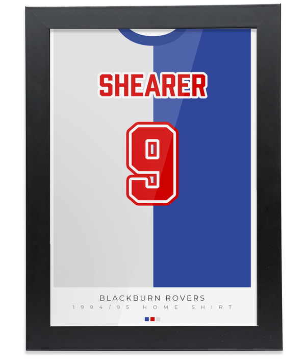 Blackburn Rovers 1995 Home Shearer Shirt Poster