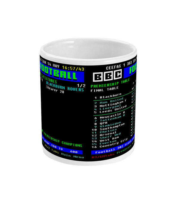 Liverpool V Blackburn Rovers 1994/95 CEEFAX Result & Table Mug