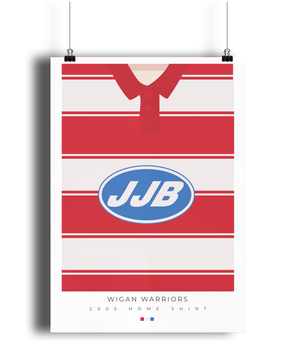 Wigan Warriors 2005 Home Retro Rugby Print