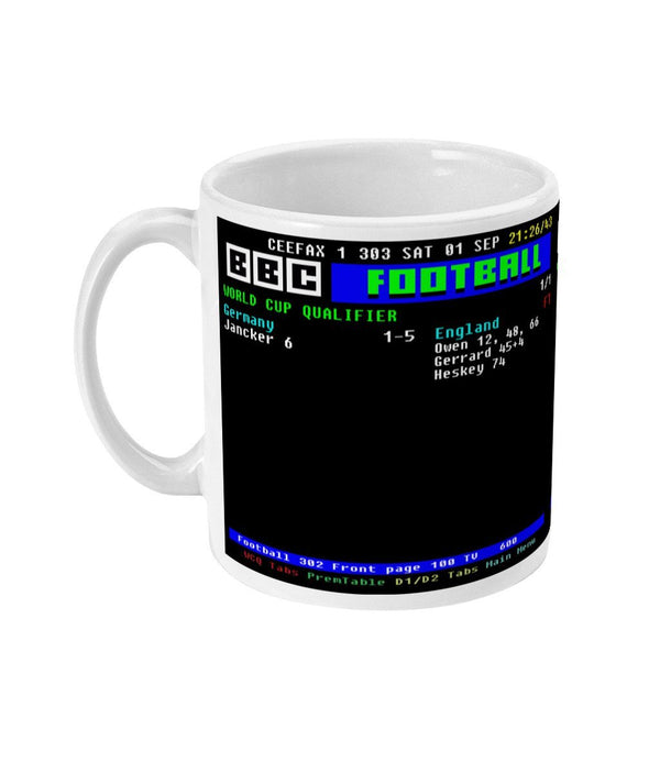 Personalised Retro Ceefax Football Match Result Teletext Mug