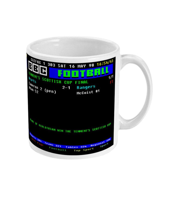 Hearts of Midlothian 2-1 Rangers 1998 Tennent's Scottish Cup Final CEEFAX Result Mug