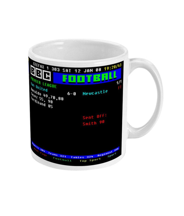 Man United 6-0 Newcastle 2008 Premier League CEEFAX Result Mug