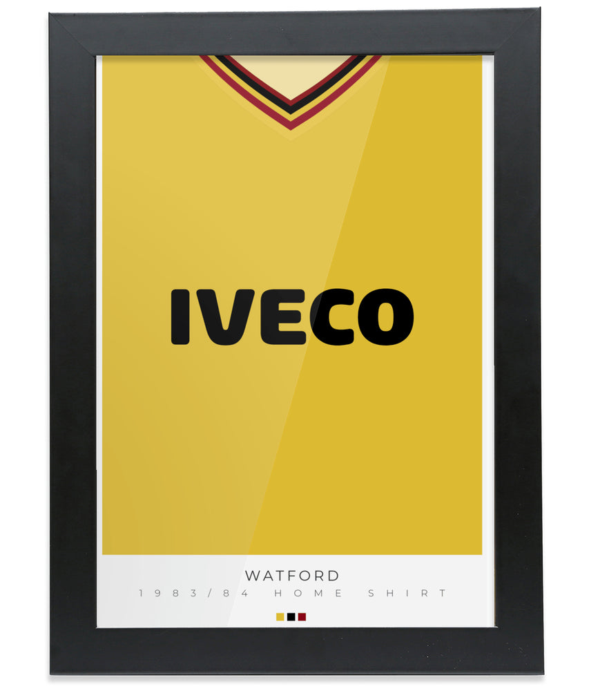 Watford 1983-84 Home Shirt Retro Football Print