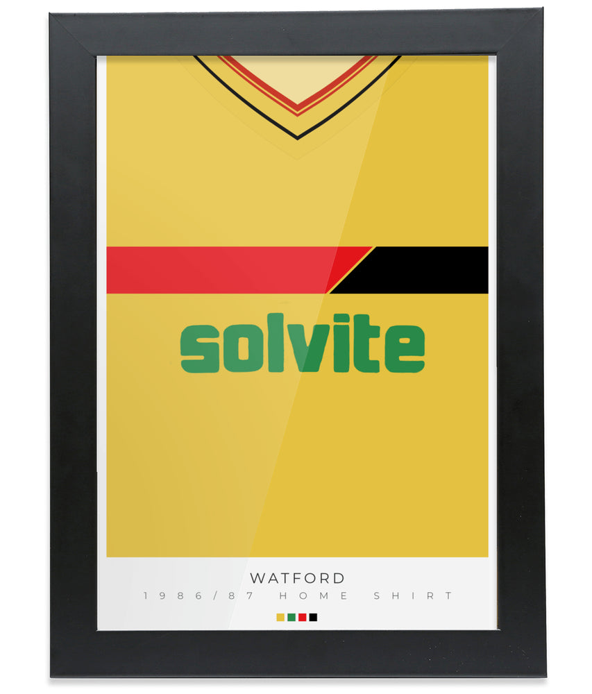 Watford 1986-87 Home Shirt Retro Football Print