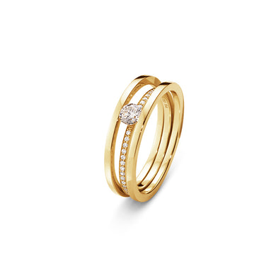 Georg Jensen 18 kt. Halo solitaire ring