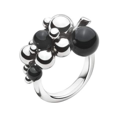 Georg Jensen Moonlight Grapes ring sølv med sort agat
