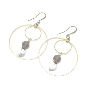 Smoky Quartz and Howlite Double Hoops