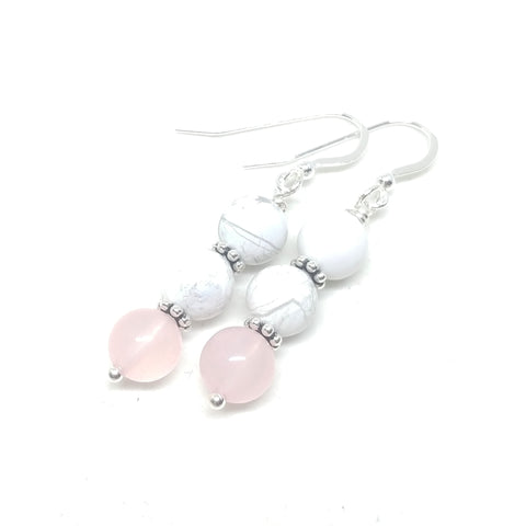 Howlite and Rose Quartz Dangles
