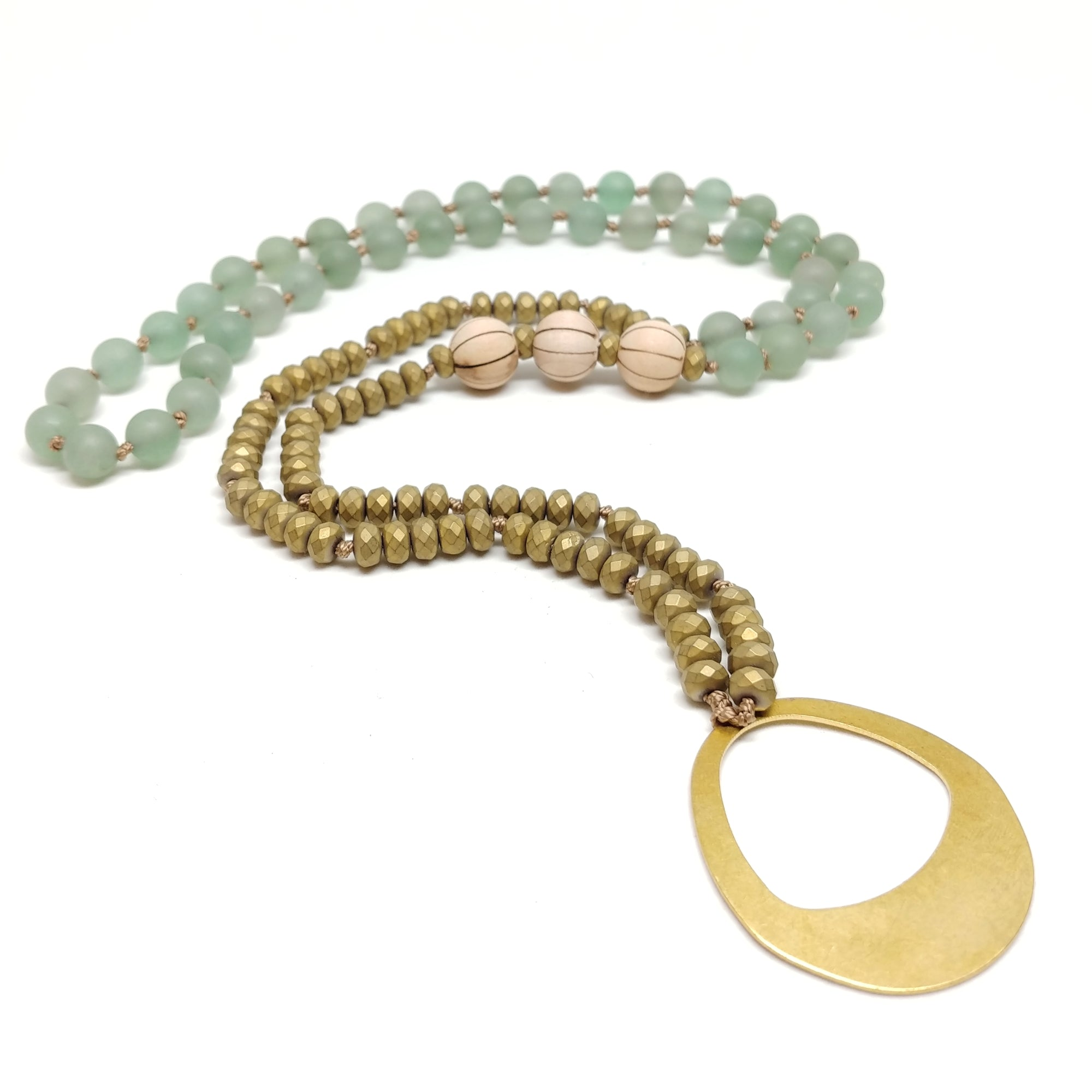 "Palm Canyon Necklace, 33"" mala-style knotted necklace, aventurine, hematite and sandal wood, brass oval pendant"